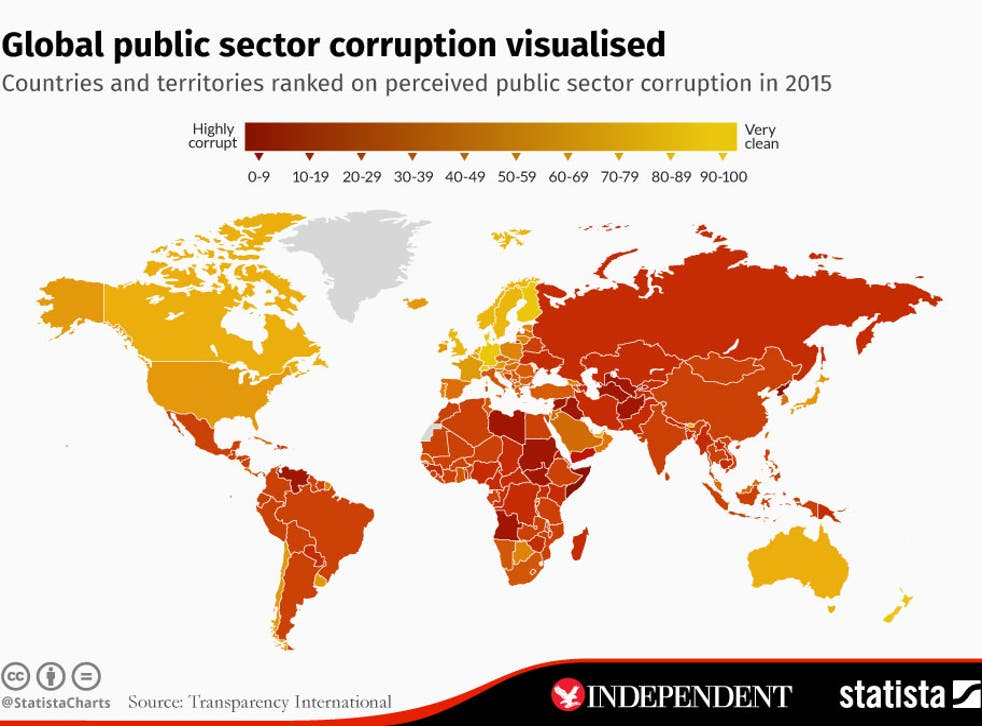 The map of the world's most corrupt countries