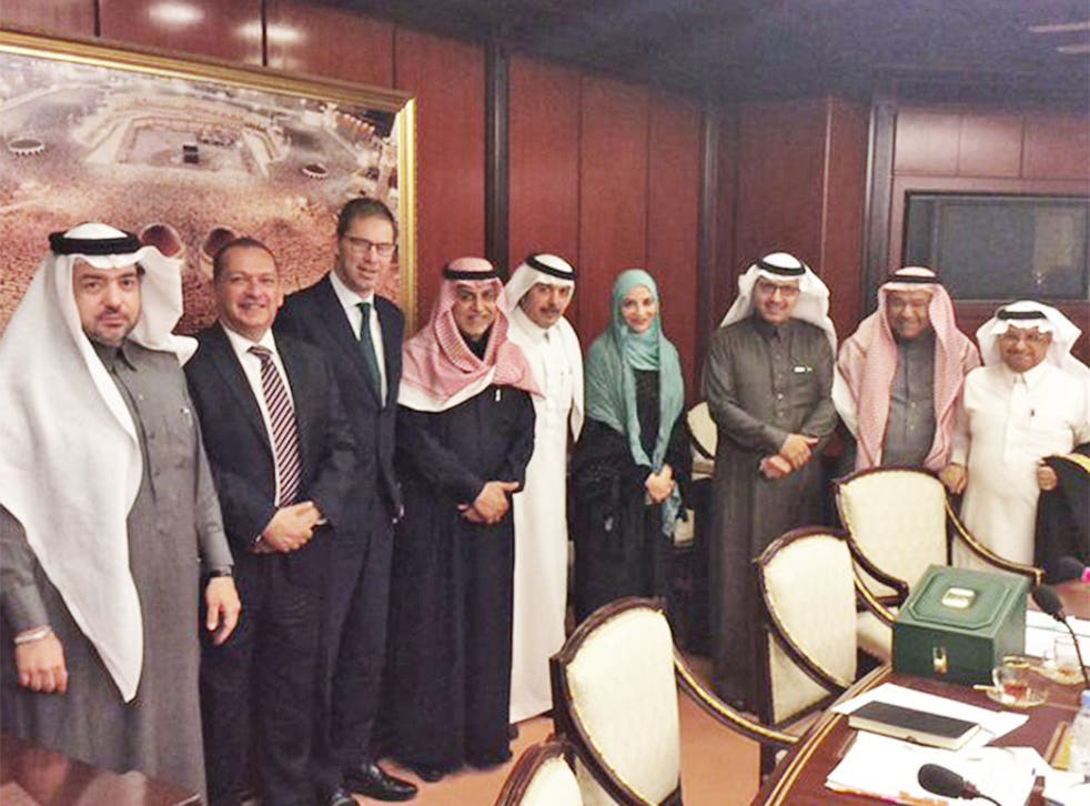 Tobias Ellwood (third from left) tweeted this picture of a Saudi meeting