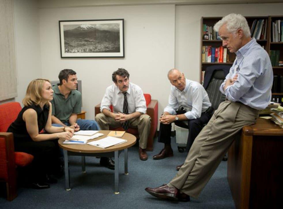 Notes on a scandal: Rachel McAdams, Mark Ruffalo, Brian d'Arcy James, Michael Keaton and John Slattery in 'Spotlight'