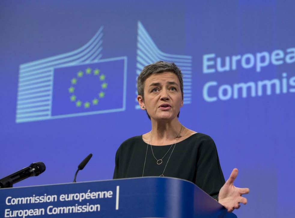 Margrethe Vestager at the EU headquarters in Brussels on Wednesday