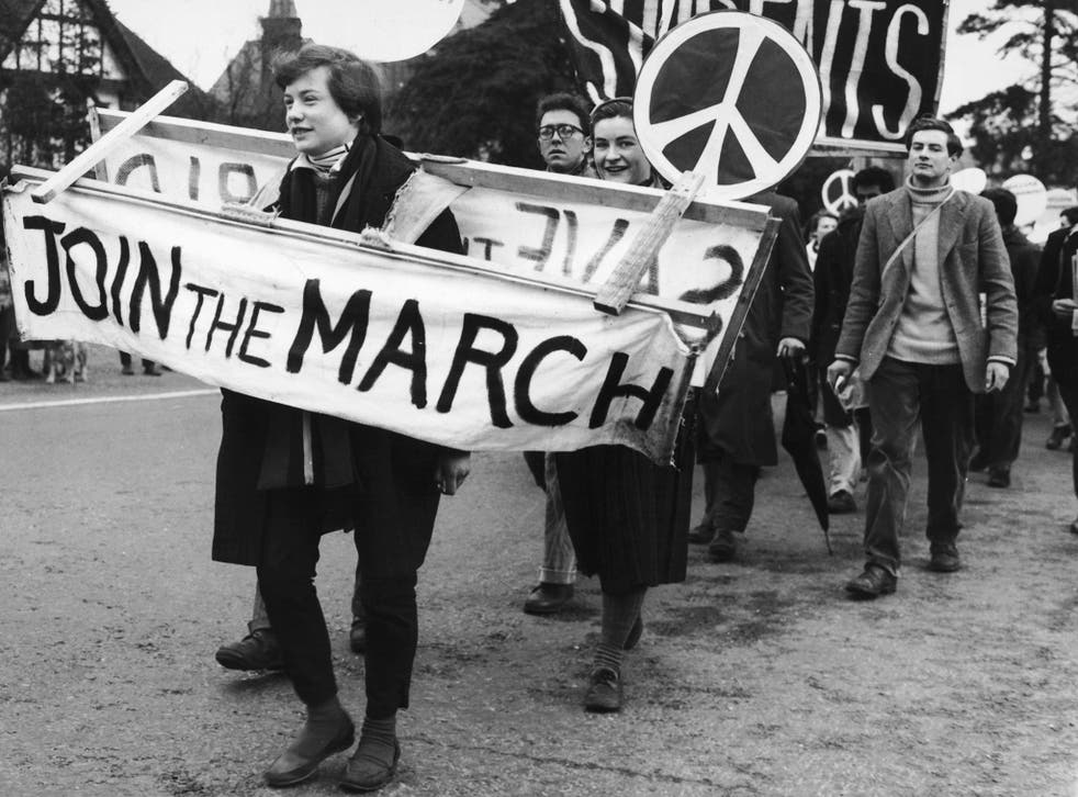 CND demonstrators leaving Maidenhead on their march from London to Aldermaston Atomic Weapons Research Establishment in Berkshire, 1958
