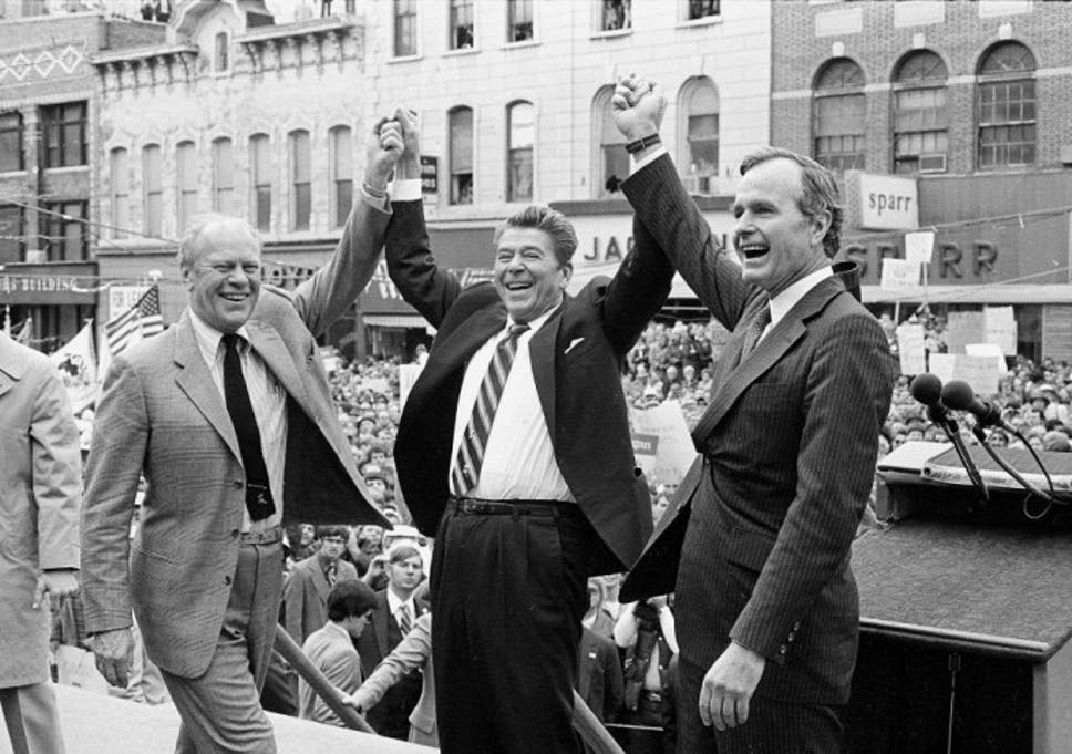 2a52d12e Former republican presidents Gerald Ford, Ronald Reagan and George H W Bush  on Reagans campaign in