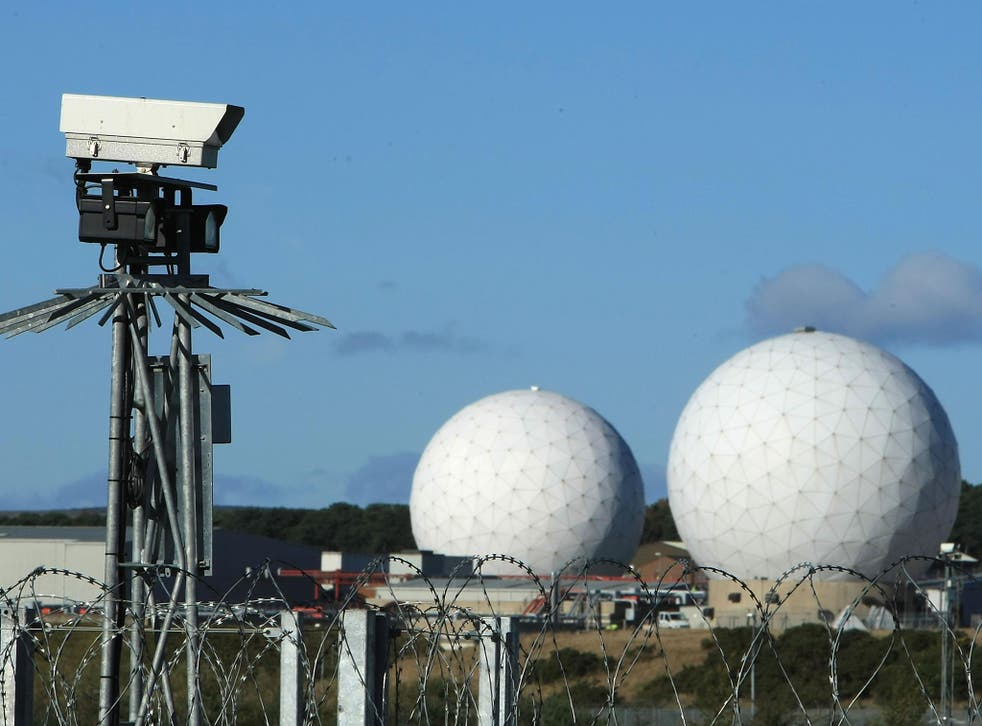 A security camera overlooks the radar domes of RAF Menwith Hill in north Yorkshire