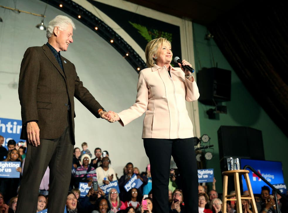Mr Clinton spent ten minutes introducing his wife to the crowd in Davenport