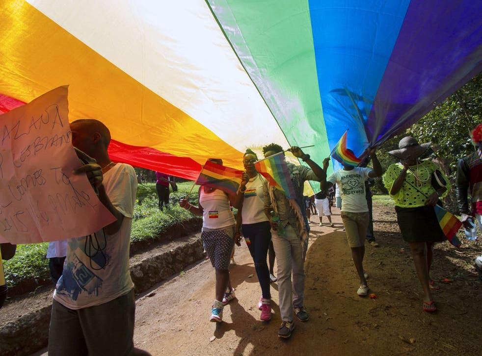 Activists at a Gay Pride parade last summer in Uganda, where Sahra lived after fleeing Somalia
