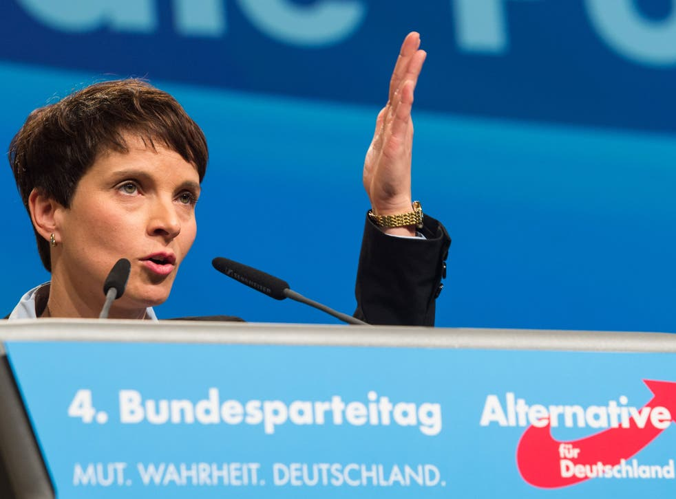 Frauke Petry, leader of far-right German party Alternative for Germany (AfD), has said border police should shoot at refugees