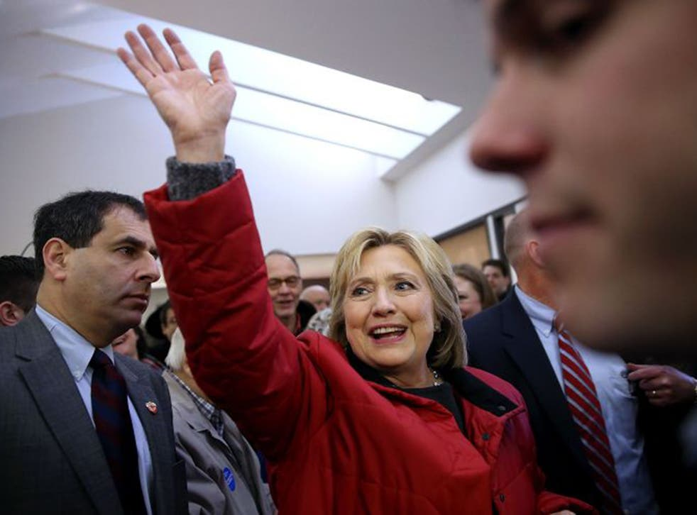 Hillary Clinton visits her Des Moines campaign office on Monday