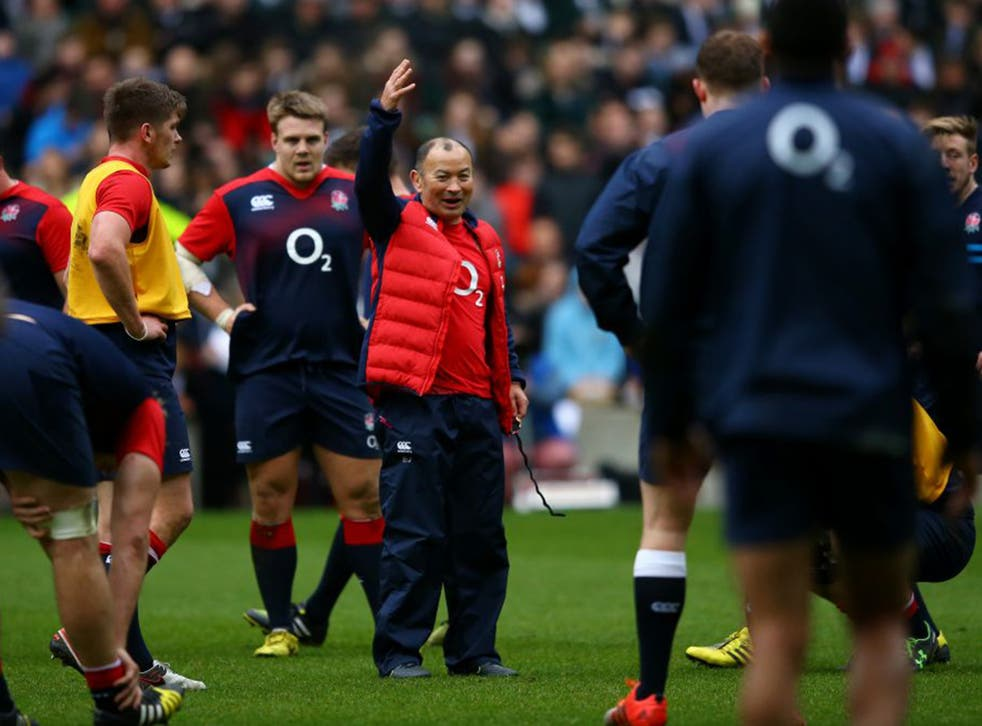 Eddie Jones takes an open training session with his England players at Twickenham