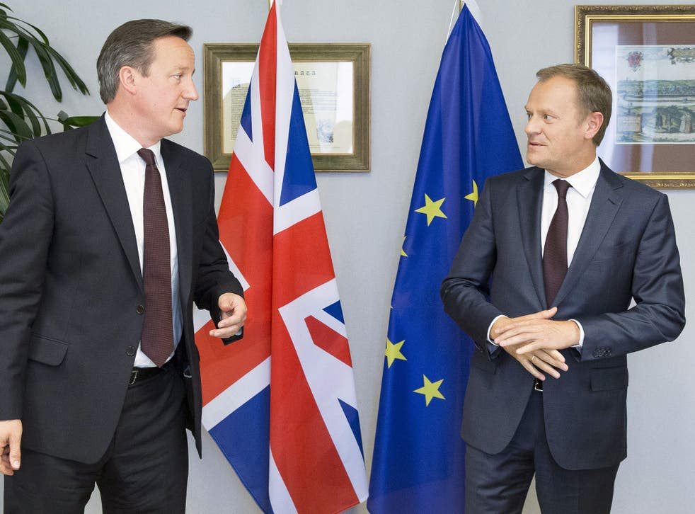David Cameron and the president of the European Council Donald Tusk talk during an EU negotiation earlier this year