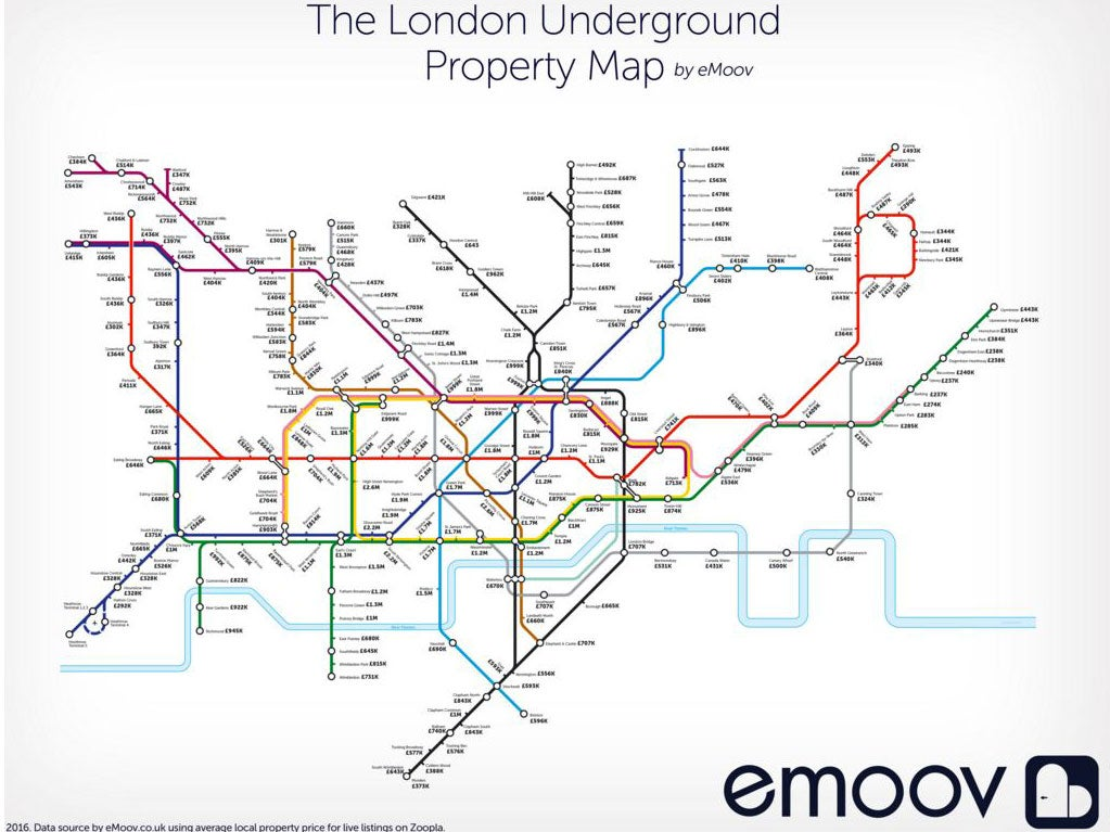 London Underground property map reveals the gaps in prices between