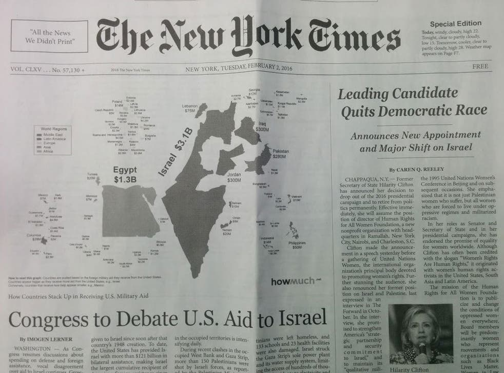 The publication said Hillary Clinton had quit as presidential candidate and Congress would debate Israeli aid