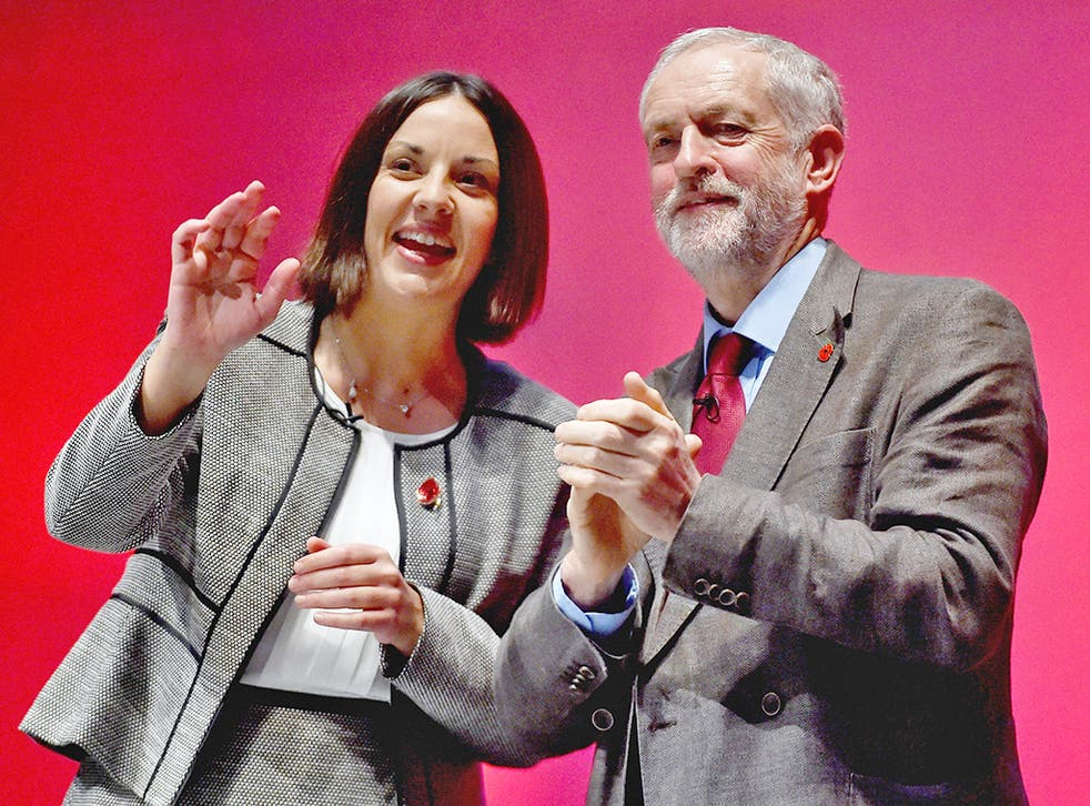 Kezia Dugdale with her party leader, Jeremy Corbyn, last October