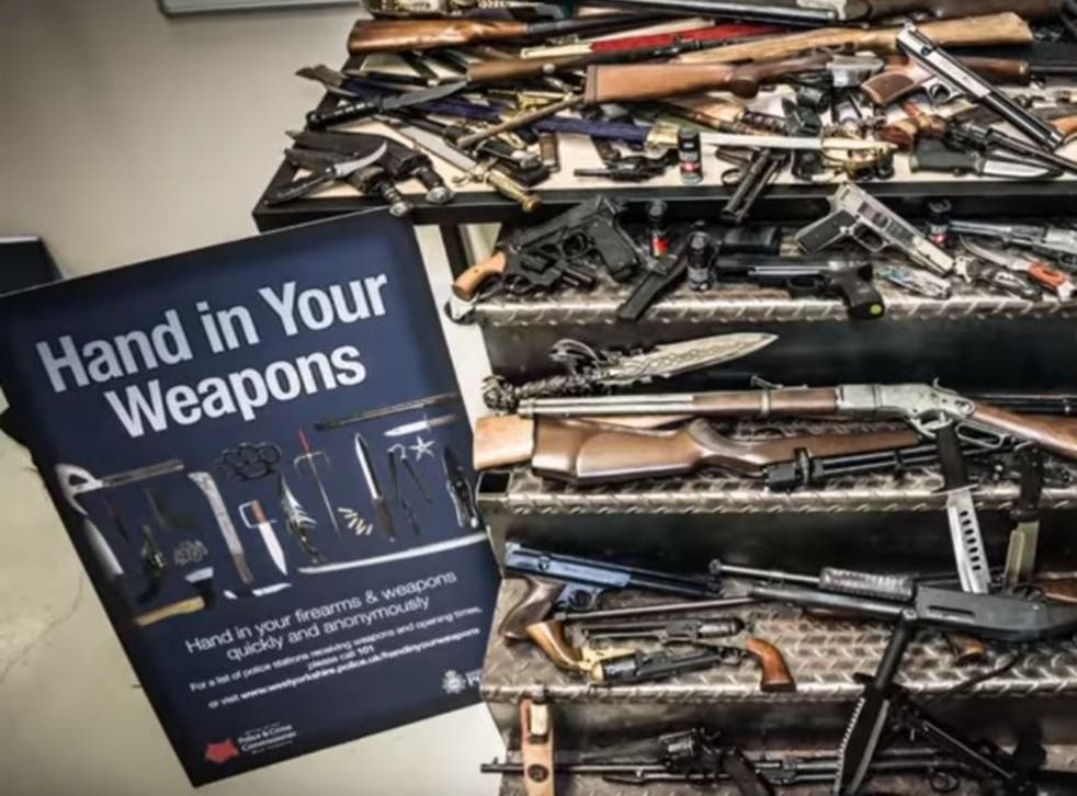 Some of the weapons handed into West Yorkshire Police