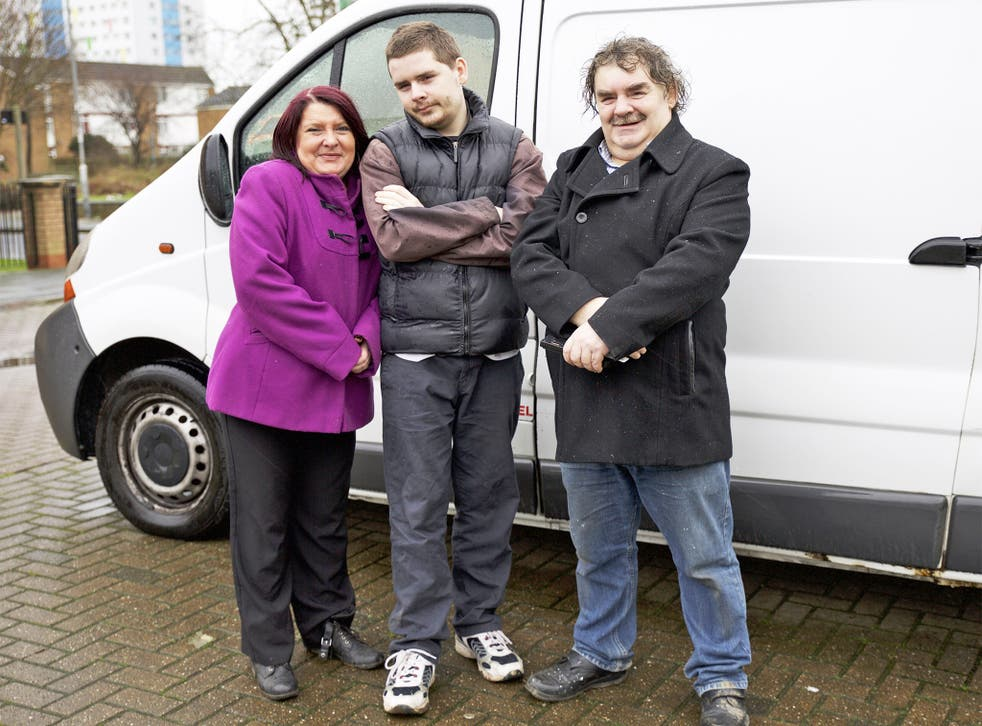 Participants on the controversial new Channel 5 show 'The Big Benefits Handout' include Tony and his family, pictured in front of a new van bought with some of the lump sum of £26,000