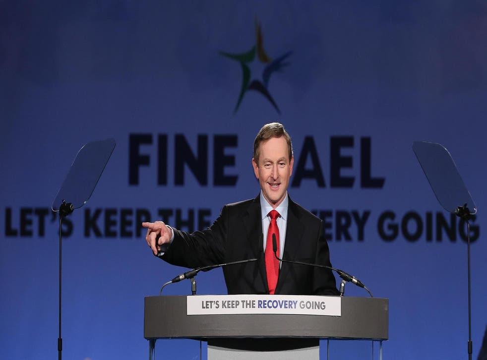 Taoiseach Enda Kenny TD addressing his party's Ard Fheis in Dublin