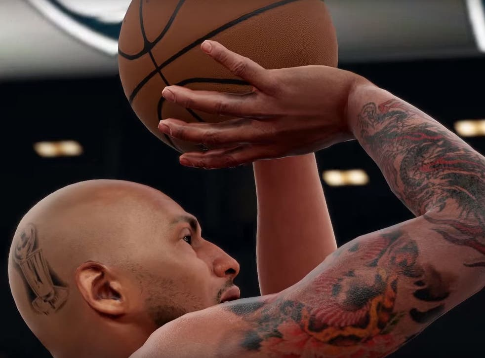 A screenshot from NBA 2K16 which shows the detailed tattoos depicted on players