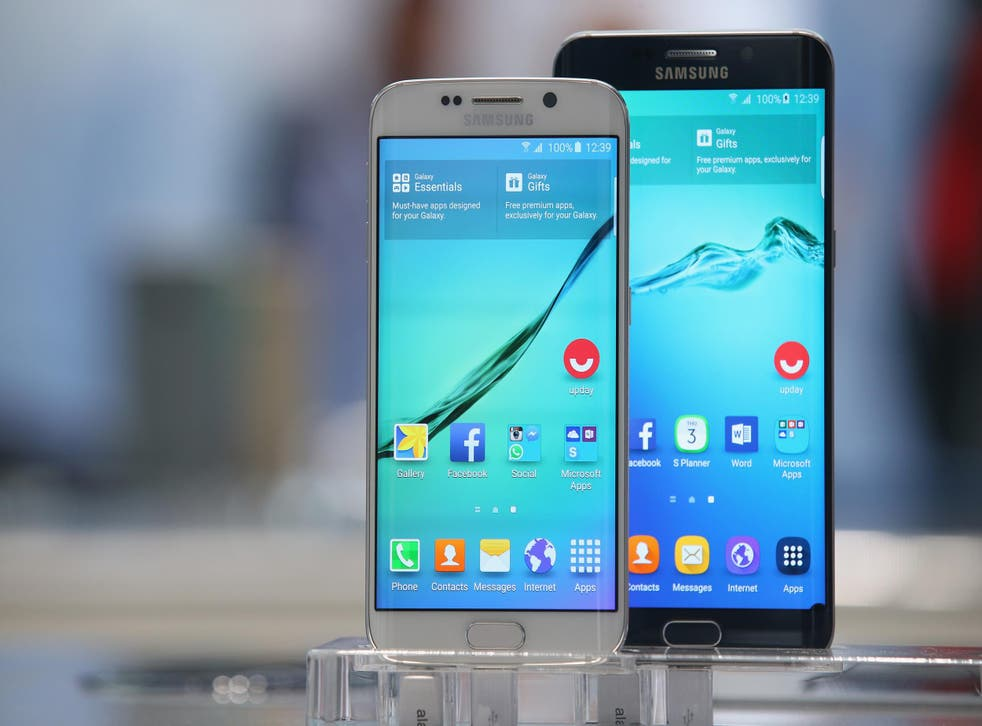 The Samsung Galaxy S6 (left) and S6 Edge at a Berlin technology show. Reports suggest the S7 and S7 Edge will look similar to these earlier versions