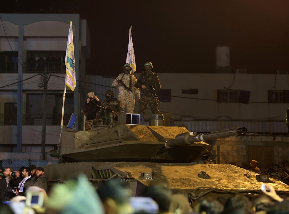 A vehicle at a parade in Gaza City organised by the Al-Qassam Brigades