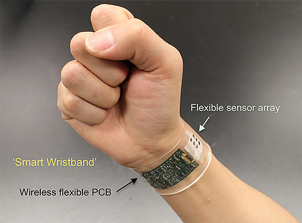 The wearable device measures biomarkers in sweat