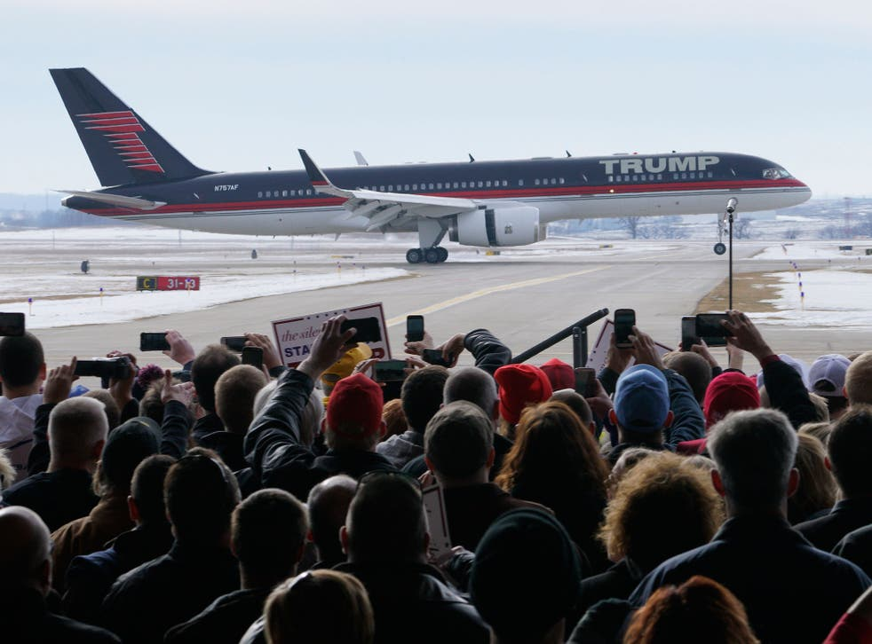 Donald Trump's plane in Iowa at the weekend