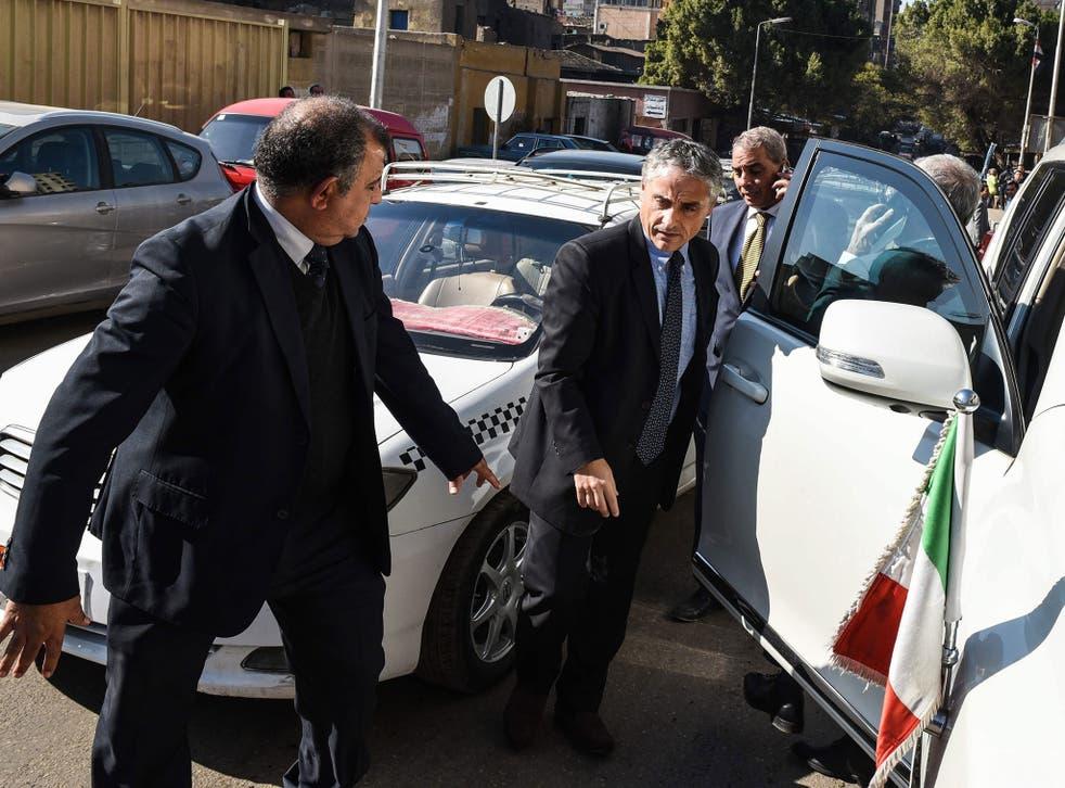 The Italian ambassador to Egypt, Maurizio Massari, arriving at the morgue where Giulio Regeni's body is held