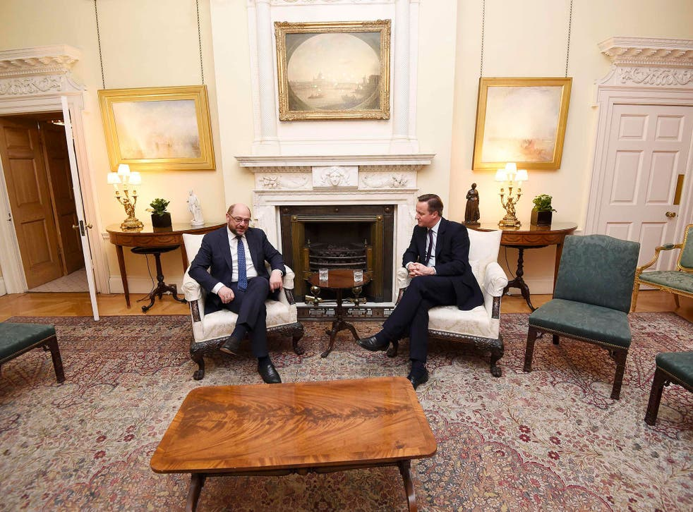 David Cameron meets the President of the European Parliament Martin Schulz in Downing Street