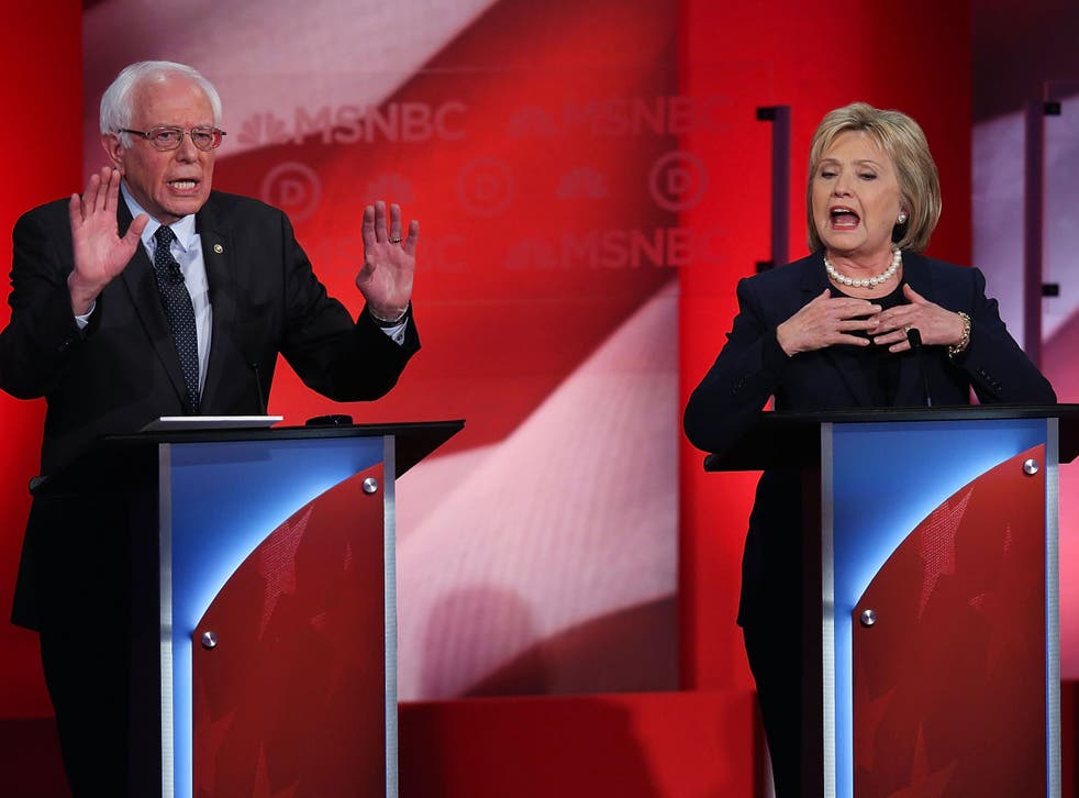 Democratic presidential candidates Hillary Clinton and Sen. Bernie Sanders squared off during the MSNBC Democratic Candidates Debate