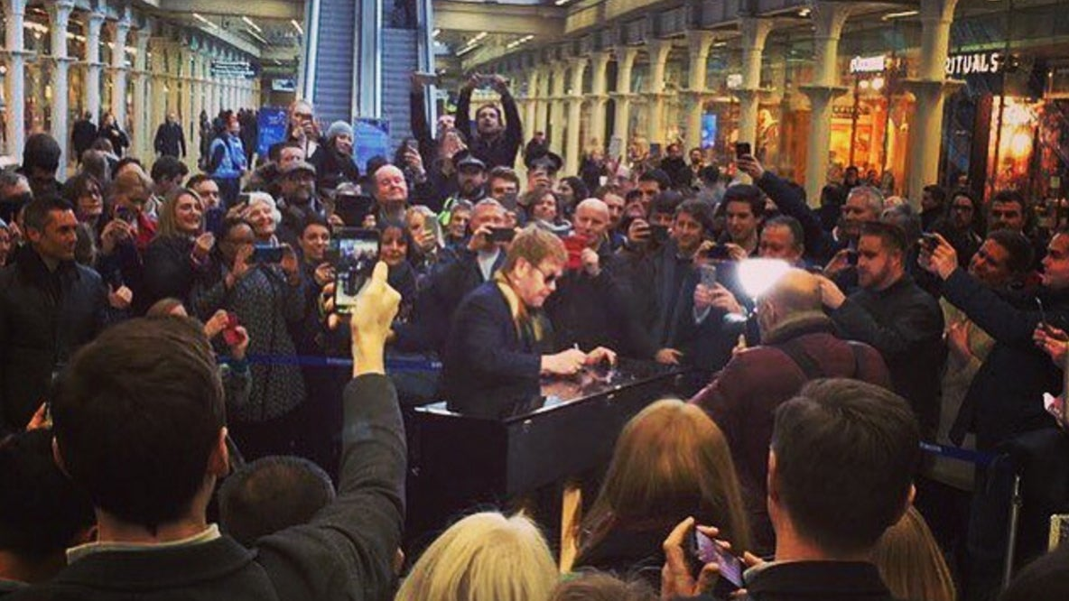 Sir Elton John Busks At St Pancras Station, Tellsmuters: 'enjoy This  Piano, It's A Gift'  The Independent