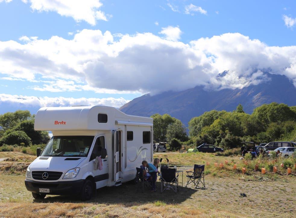 The campervan near Queenstown, New Zealand