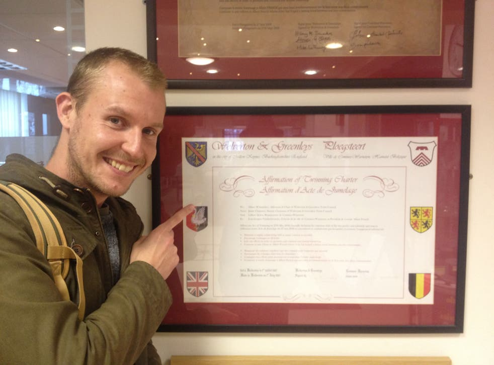 Friendship: Rob Self-Pierson with the twinning charter