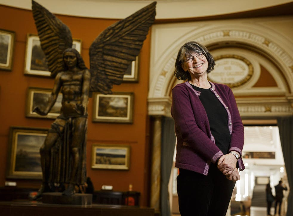Author Clare Morrall. Her latest book is set in a post-apocalyptic Birmingham and features the statue of Lucifer seen here in the Birmingham Museum & Art Gallery