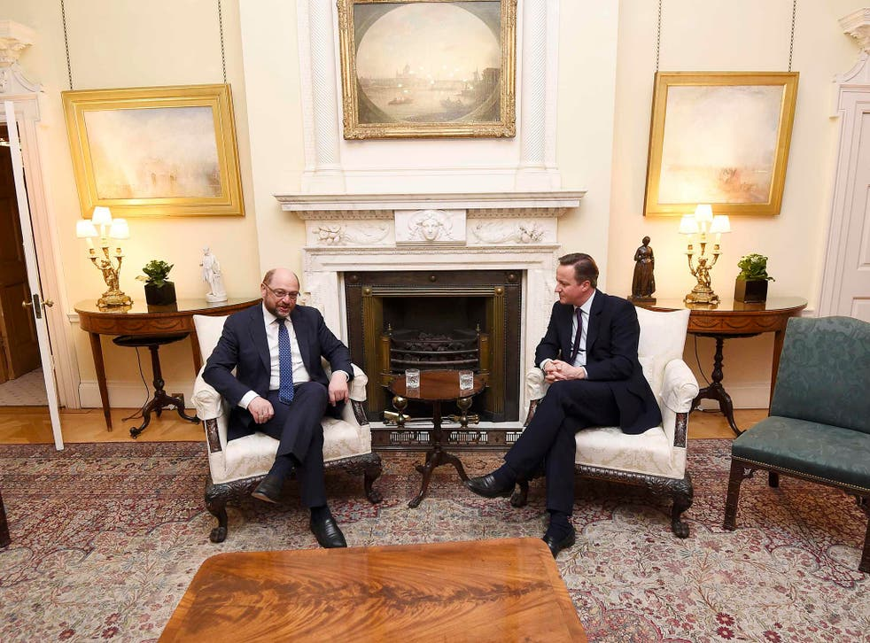 David Cameron meets the President of the European Parliament Martin Schulz in 10 Downing Street