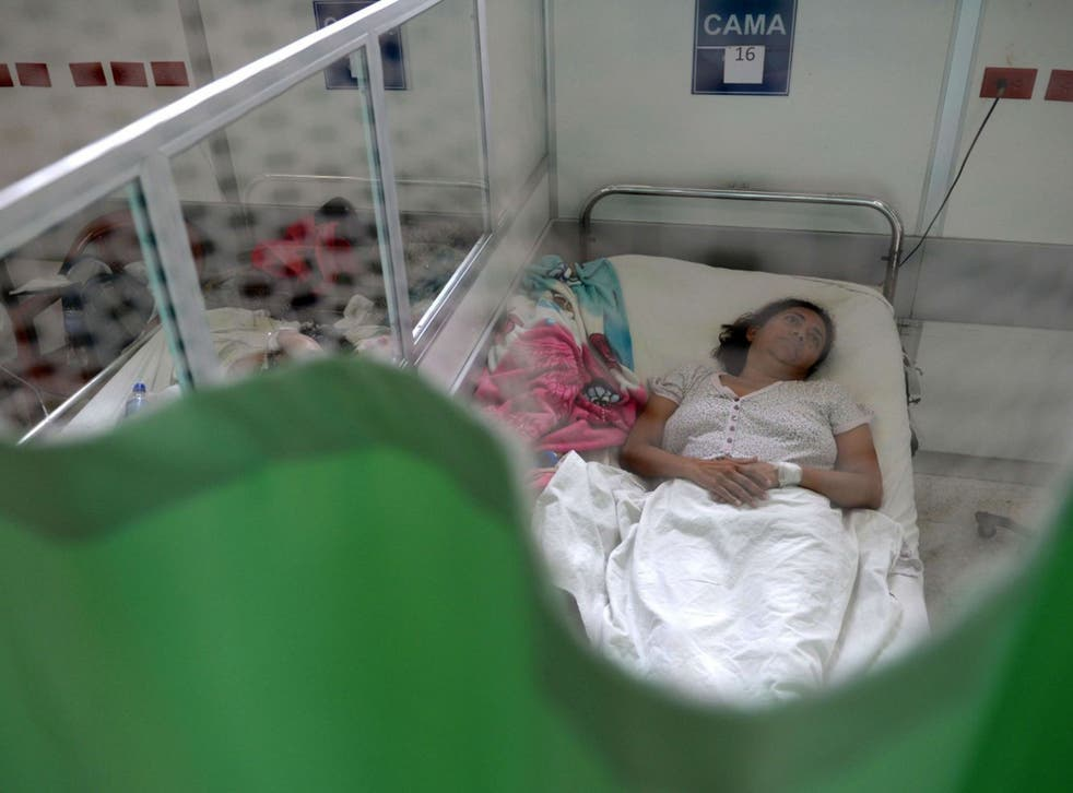 A patient suffering from Guillain-Barré, in which the immune system attacks the nerves, in El Salvador last month