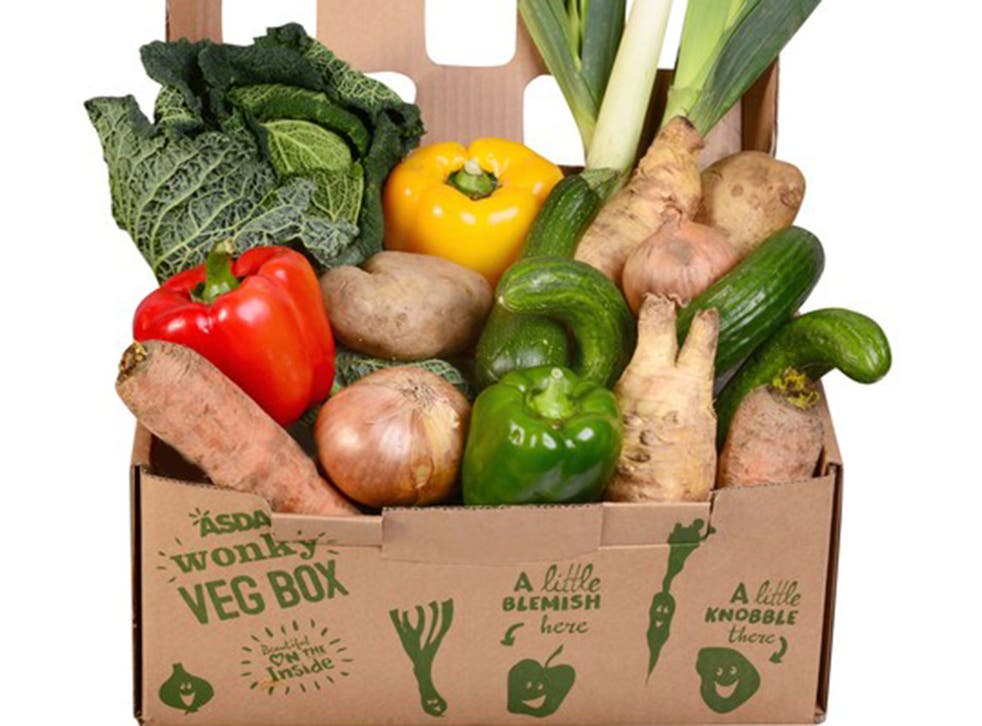 Asda's wonky vegetable box contains vegetables which are misshapen, have growth cracks, or are a different size than average