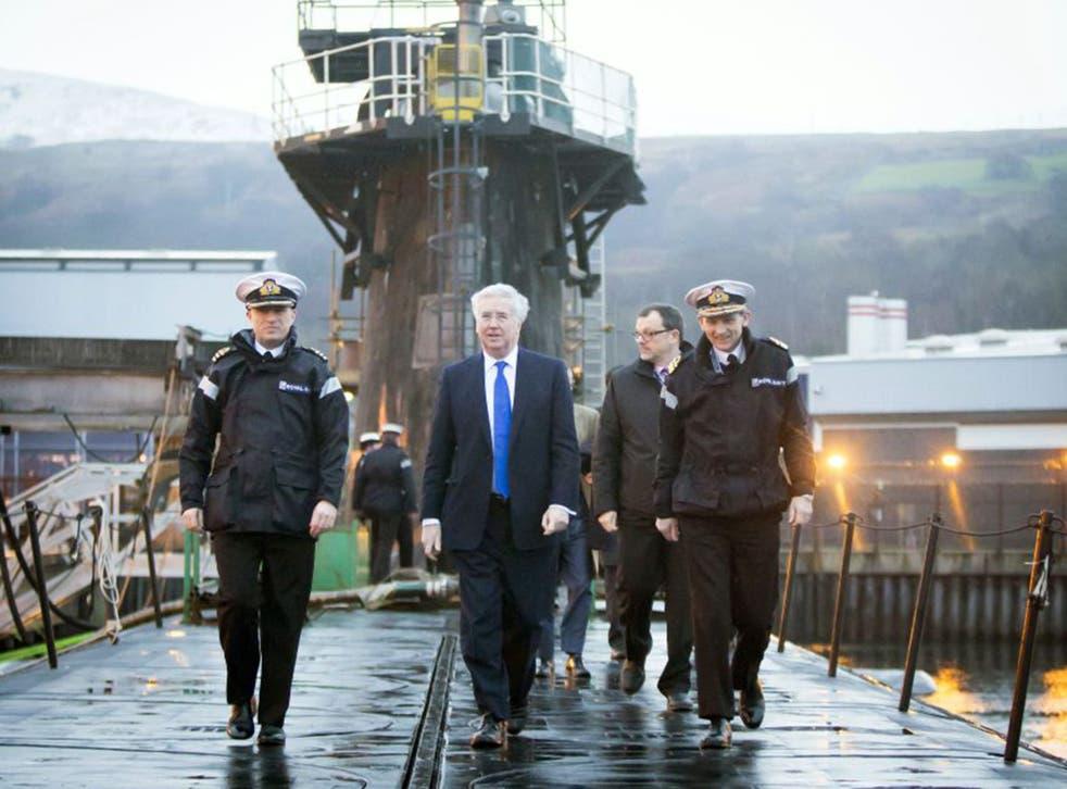 The Defence Secretary Michael Fallon in Faslane last month, visiting nuclear submarine HMS Vigilant