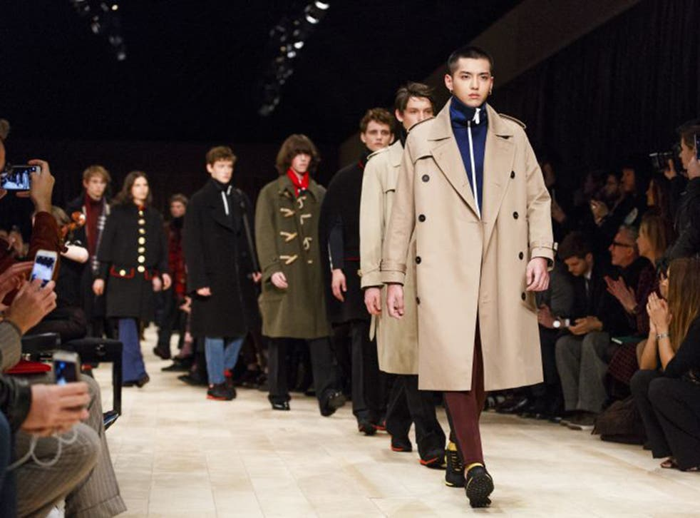 Models take to the runway at the Burberry show at the The London Collections Men event in London in January