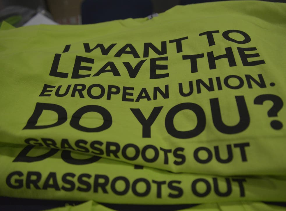 Campaign t-shirts on sale at the Grassroots Out event in Manchester.