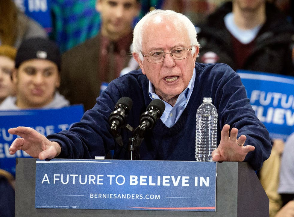 Bernie Sanders speaks at a campaign stop at the Franklin Pierce University in Rindge, New Hampshire. Polls show him on course to defeat Hillary Clinton in the upcoming New Hampshire primary