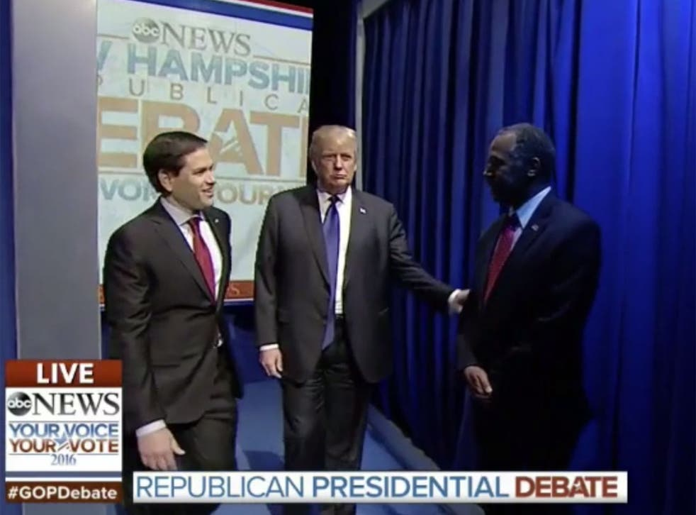 The Republican debate began with scenes of confusion as candidates failed to come out on cue