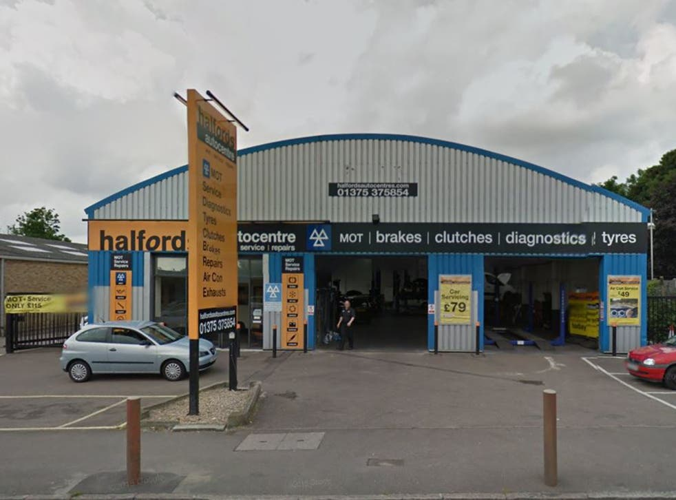 The Halfords Autocentre in Grays, Essex where the incident occurs