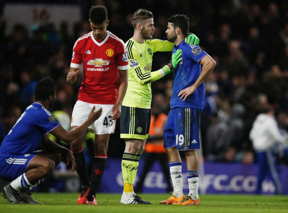 David de Gea speaks with Diego Costa after the 1-1 draw with Chelsea