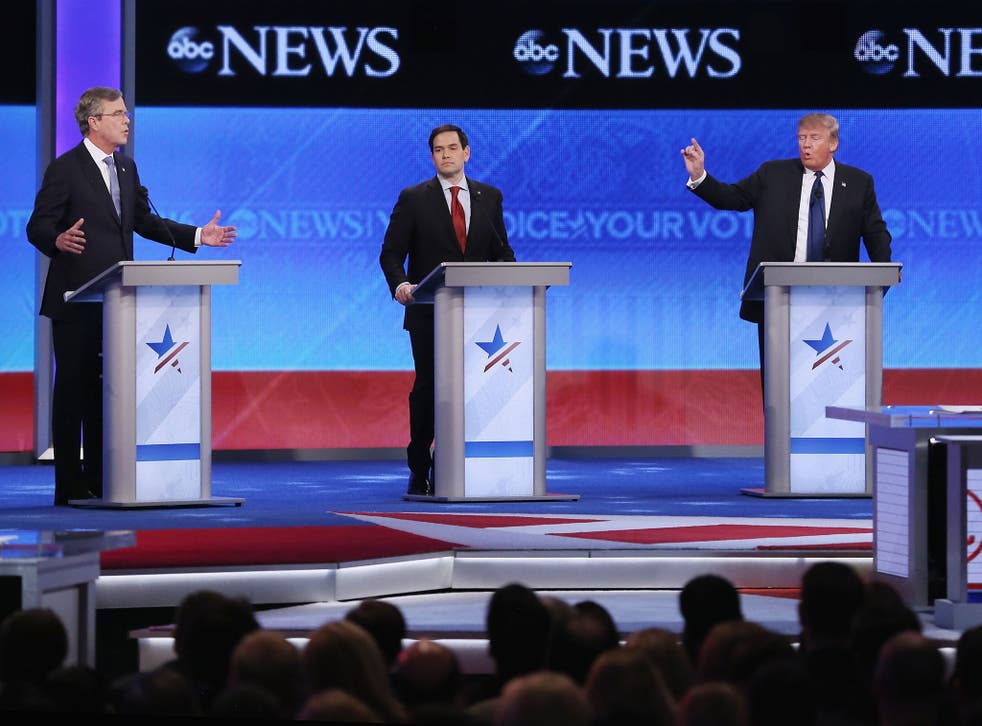 Republican presidential contenders, from left, Jeb Bush, Marco Rubio and Donald Trump in the televised debate