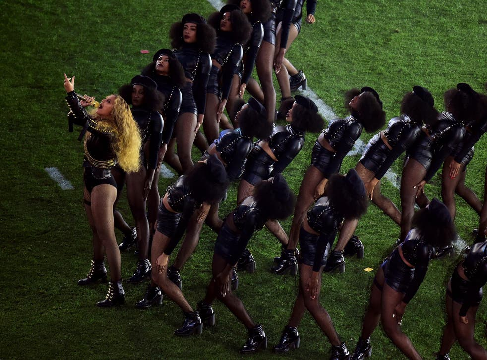 Beyonce performing Formation at the Super Bowl