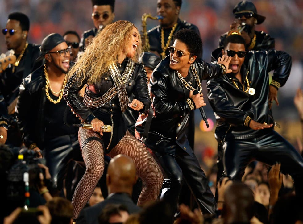 Beyonce and Bruno Mars perform during the Pepsi Super Bowl 50 Halftime Show