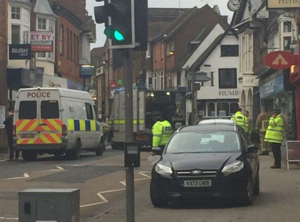 Police cordoned off the area around the Santander in Sevenoaks