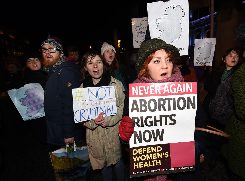 Pro Choice activists rally outside City Hall in Belfast, Northern Ireland, in January