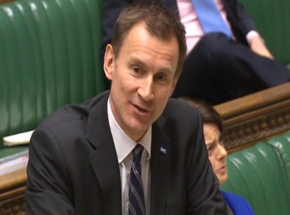 Health Secretary Jeremy Hunt in the House of Commons