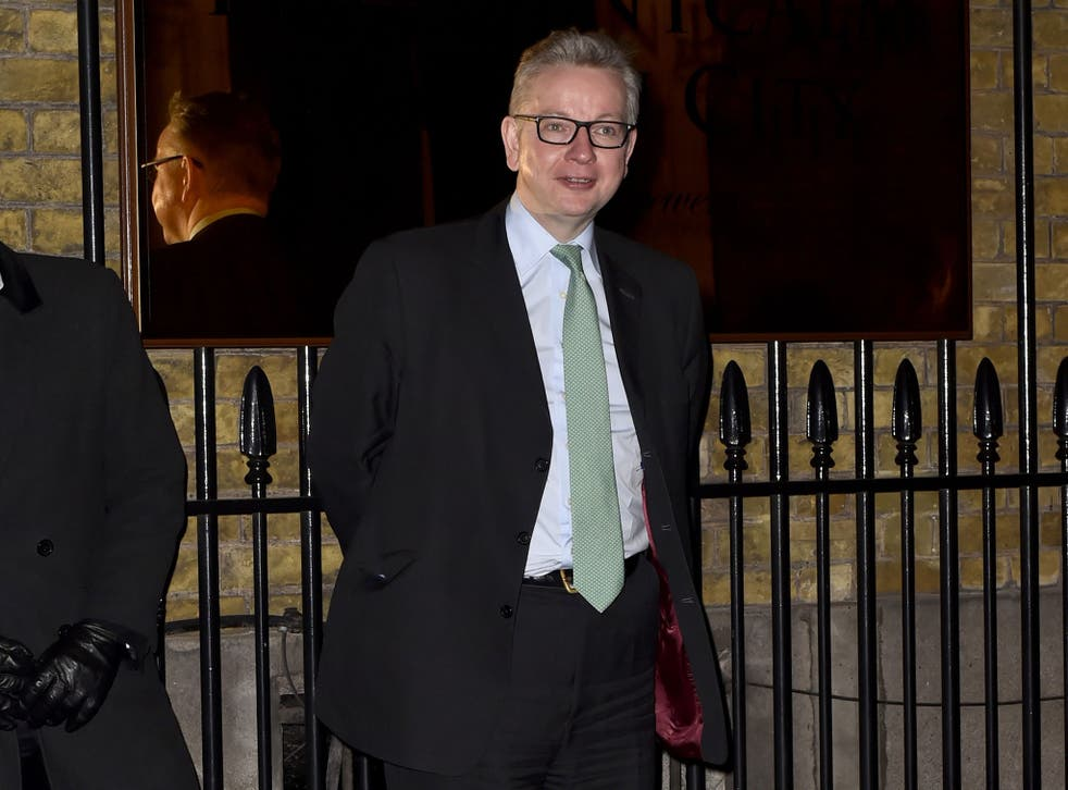 Michael Gove arrives at a Conservative party Black & White Ball fundraiser at the Chiswell Brewery, London