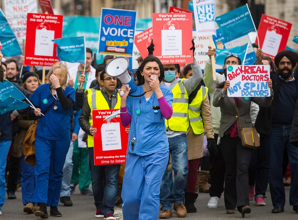 Protesters in London last weekend march against plans to change junior doctors' contracts