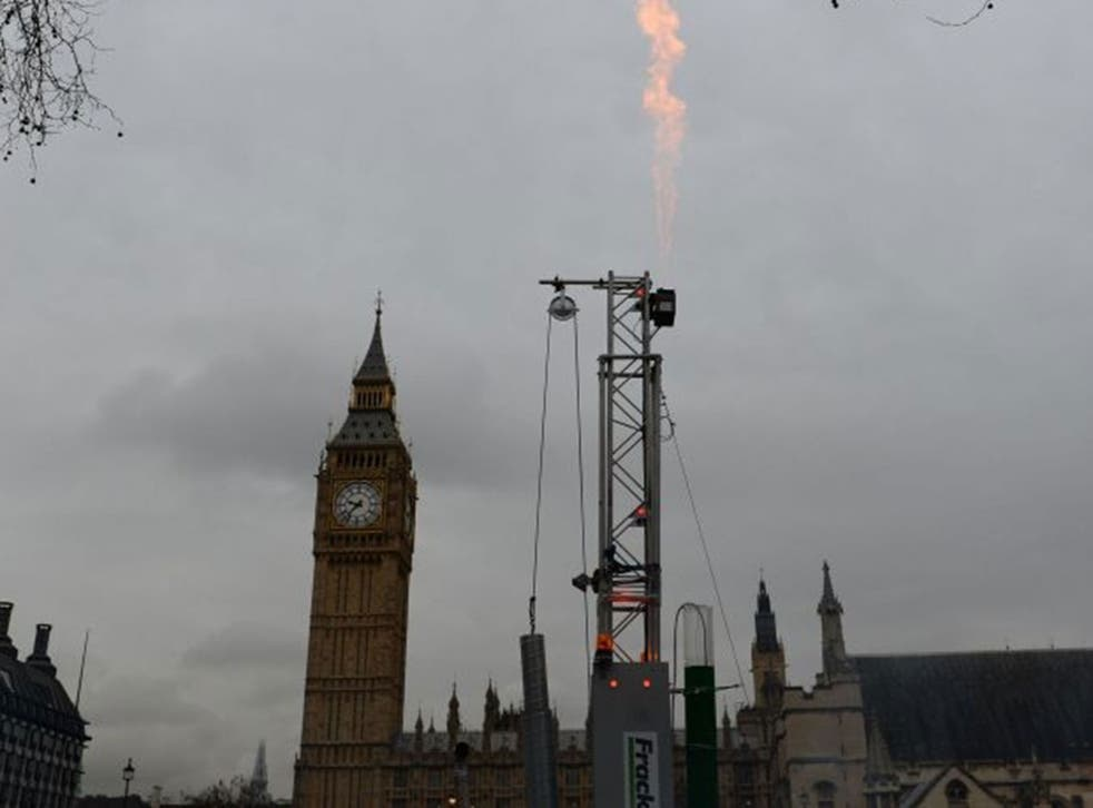A fracking protest outside Parliament in London